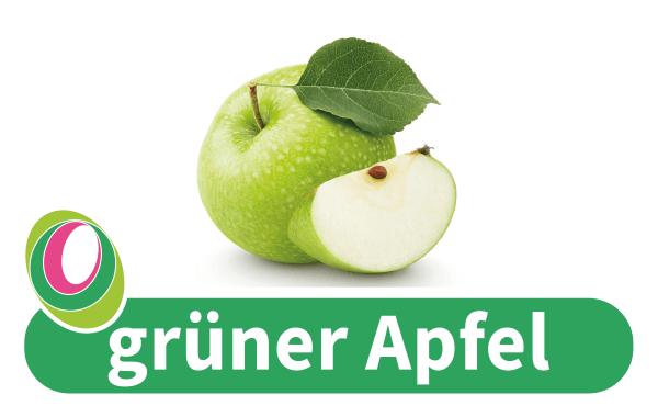 Abbildung eines grünen Apfels mit entsprechender Beschriftung.