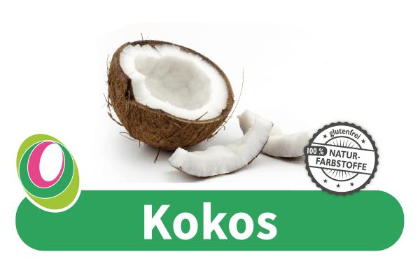 Abbildung einer offenen Kokosnuss mit entsprechender Beschriftung.