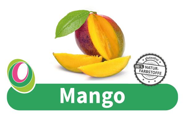 Abbildung einer Mango mit entsprechender Beschriftung.