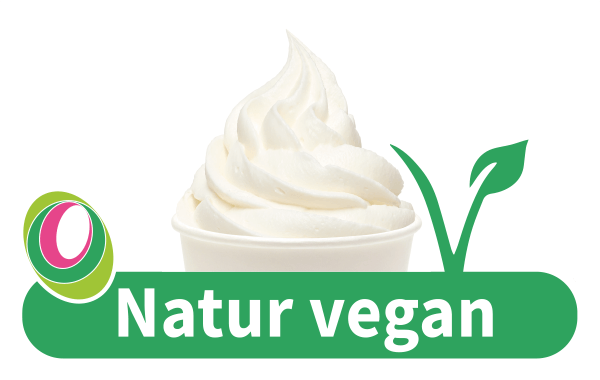 Abbildung des Frozen Yogurt Natur vegan mit entsprechender Beschriftung.