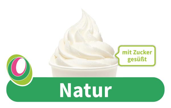 Abbildung des Frozen Yogurt Natur mit Zucker gesüßt mit entsprechender Beschriftung.